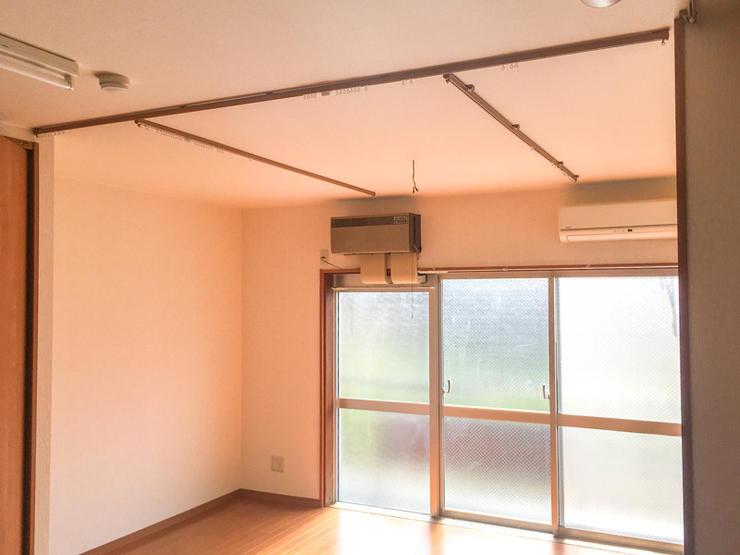 天井のカーテンレールはご希望の位置に短時間で設置