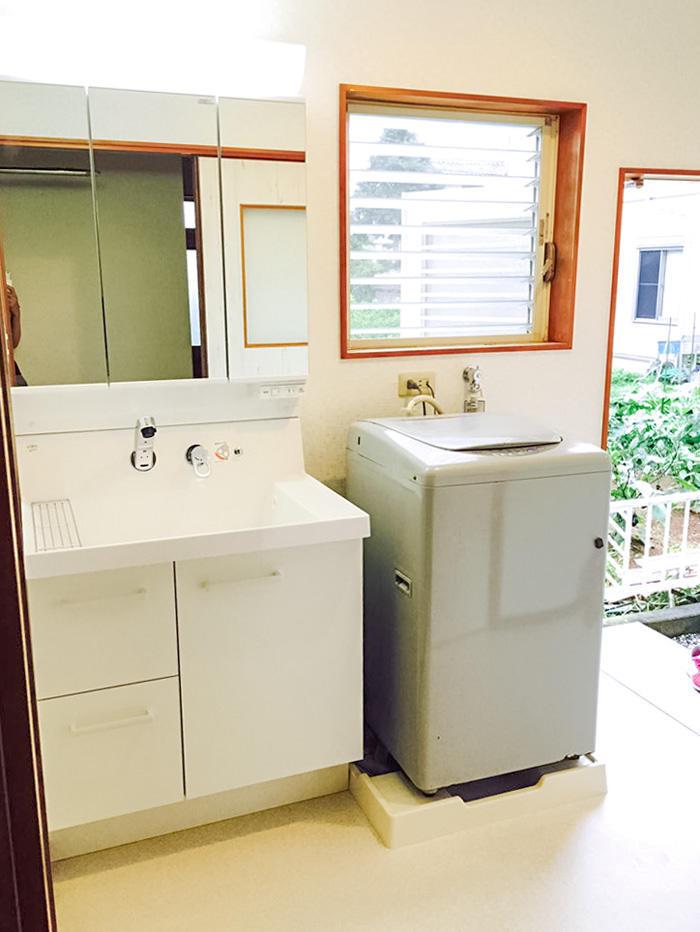 水漏れを解消しバリアフリー対応した洗面所