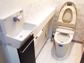 手洗カウンター付きトイレもわずか1日で施工完了
