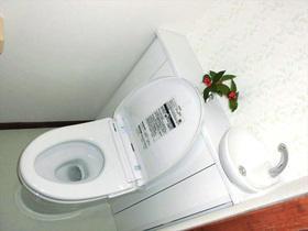 収納力はそのままでトイレ広々。アクセント壁紙で爽やかな空間に