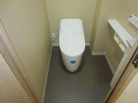 お値打ちに、かつ引き締まった印象に仕上げたトイレ
