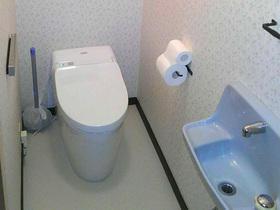 すっきりしたデザインのタンクレストイレ