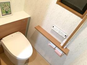 手すり・収納扉・床を同色にすることで一体感を出したトイレ