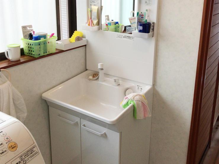 収納を確保して広く使い勝手が良くなった洗面