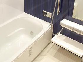 ホテルのような高級感のある浴室と洗面所